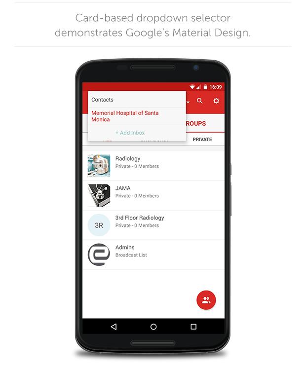 Card-based dropdown selector demonstrates Google's Material Design.